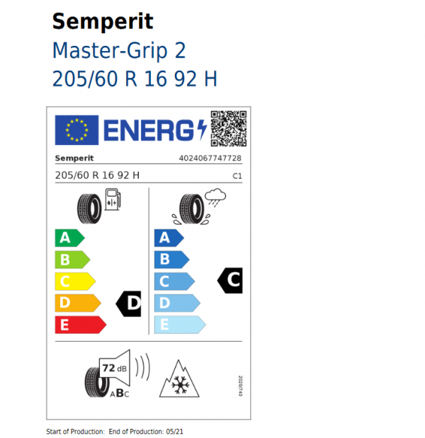 1x Stück Ford Focus Winterrad (Reifen + Felge) Stahl ab 04/2018 205/60 R16 92H Semperit 2202997